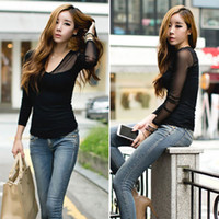 sexy blouses - New Women s Gauze Sheer V Neck Tops Slim Sexy Casual Long Sleeve Blouse T Shirt