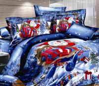 Wholesale Hot Santa Claus Bedding Sets Christmas Comforter Set Duvet Covers Pillow Cases Flat Bed Sheet Cotton Fabric Home Textile