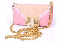Wholesale Christmas gifts Wallet Leather Bud Lace Silk Flower Diamond Duckle Photo frame case For Iphone inch