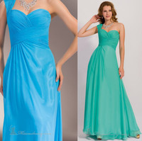 Wholesale Cheap Chiffon Simple Prom Dresses Turquoise Jade One Shoulder Elegant Prom Evening Gowns US size High Quality Free Ship