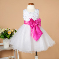 bd - 2015 Hot Sale Party Dress Baby Sizes Flowergirl Dress with Pearls Big Bowknot Months to Years Girls Dresses Children Wear BD