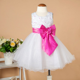 Wholesale Hot Sale Party Dress Baby Sizes Flowergirl Dress with Pearls Big Bowknot Months to Years Girls Dresses Children Wear BD