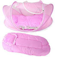 Wholesale blue pink sets Foldable Portable Baby Infant Bed Mosquito Net Cotton padded Mattress Pillow Princess Tent