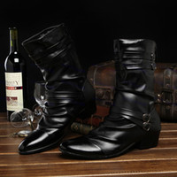 Wholesale Hot Sale Pointed Toe Buckle Mens Boots Martin boots Korean dress shoe leather motorcycle boots