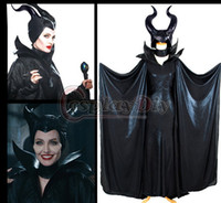 Wholesale Customized New Movie Maleficent Evil Queen Black Cloak with Horn Hat Cosplay Dress Halloween Christmas Costume Suit Adult size