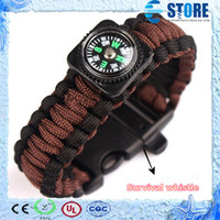 Wholesale Brand New Paracord survival whistle Bracelets Fashion Parachute Compass Bracelet Handcraft Friendship Link Bracelet M