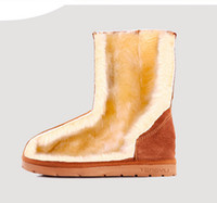 Wholesale Hot Sell Winter middle Tall Snow Boots woman not ugglis add thick warm grind arenaceous cowhide big yards cotton boots woman k1209