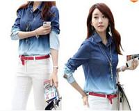 Wholesale Plus Size Autumn Women Denim Blouses Long Sleeve Cotton Shirts Women Gradient Pattern camisa jeans Jean Shirts