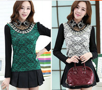 Cheap 2014 Autumn and Spring Lace Peter Pan Collar Pullover Tops Woman Long Sleeve Basic shirt polo ralph Women Plus Size S,M,L,XL,XXL