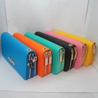 Wholesale NEW Women s Double Zipper PU Leather Clutch Grid pendant card Purse Long Handbag Candy colors Lady Bag