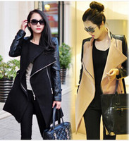 Cheap TOP quality new fashion trend Lady punk quilted lining Streetwear Women Outwear Clothes Spliced Faux Leather sleeve Jacket Coat