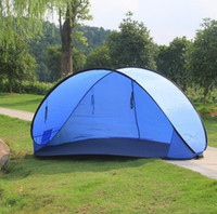 Wholesale Shipping large family beach tent opening double speed automatic outdoor sun shade purple line multiplayer