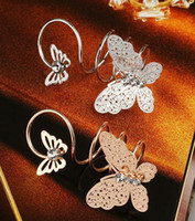 Wholesale 2 color Butterfly Ring Wedding Rose Gold Silver Plated Rhinestone Rings