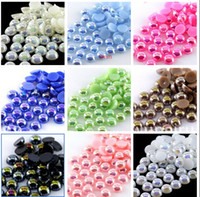 plastic pearl beads - 2000pcs set mm Half Round ABS Imitation Pearl Bead Flat Back Scrapbook for Craft AB Colors Jewelry DIY