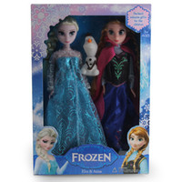 doll boxes - Hot Frozen Princess Dolls Set Elsa Anna Olaf Toys Inch With Box Children Gift