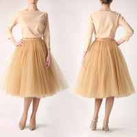 Wholesale Colors Layers Knee Length cm Puffy Tutu Tulle Skirts Midi Sheer Mesh Skirt Women Short Party Jupe Saias Femininas Cocktail