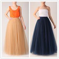 Wholesale Women Layers Vintage Desinger Gauze Tulle Long TuTu Skirt Custom Made wedding Ball Grown Prom Dress maxi skirt Midi Sheer Mesh