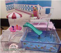 Wholesale doll accessories Square pool with sun umbrella beach chair slides For Barbie Dolls hot sale BBWWPJ0029