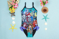 Wholesale Monster high girls swimwear children cartoon swimsuit princess girl beach bath suit for big girl age T
