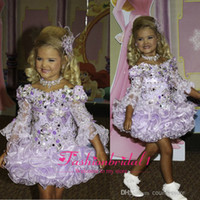 Cheap 2015 Adorable cute lace little Girl's Pageant Dresses bateau 3 4 long sleeves sequins beaded ruffles short princess ball gowns BO6610