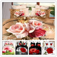 Cheap Wholesale-4 PCS Free Shipping -3D Bed Linen-Flower Printed 3D bedding set 3d -classic home decor New Pattern -1