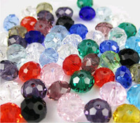 faceted rondelle beads - 200pcs Faceted Rondelle Glass Crystal Beads Jewelry Findings Jewelry DIY mm