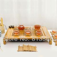 Cheap High quality bamboo tea board + glass tea set + porcelain caddy, exquisite bamboo tea tray, new style household tea sets