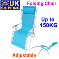 Cheap UK Stock To UK Folding Adjustable Recliner Chaise Lounge Beach Nap Chair Blue Bed for Outdoor Camping UPS Free Ship