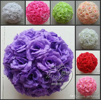 Wholesale 8 quot CM Artificial Rose Silk Flower Kissing Balls White Flowers Ball For Christmas Ornaments Wedding Party Decoration Color New Arrival