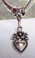 Wholesale Hot Tibetan Silver Flower Bouquet Heart Love Dangle Bead fit European Style Charm Bracelets x12mm z541