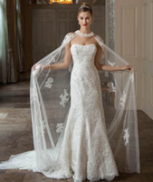 Wholesale 2015 Modest Lace Wedding Dress New Arrival Strapless Bridal Gowns With Tulle Wrap Chapel Train Long Church Wedding Gown On Sale