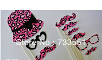 Cheap New Product Sale, DIY Photo Booth Props Leopard Stripe fashion glasses Mustache hat On A Stick Wedding Birthday party fun favor