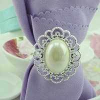 Wholesale Oval Pearls Metal Napkin Rings Hotel Wedding Supplies Kitchen Table Decoration Accessories R047