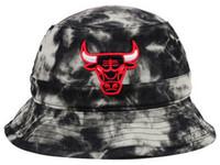 Wholesale Chicago basketball Bulls Blacid Wash Denim Bucket hats baseball football buckets hats all sports team bucket caps snapback hats mix order