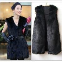 Wholesale 2016 Winter Faux Fur Vest Women Plus Size Coat Fashion Long Vest Trench Coat Runway Vest Jackets Ladies Girls waistcoat Vest Outerwear W46