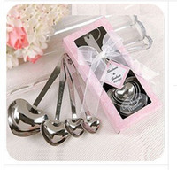 Wholesale New set set Heart Shaped Measuring Spoons set with pink gift box Wedding Favors LOVE E