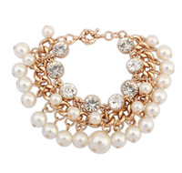 Wholesale Korea Style Charming Fashion Handmade Immitation Pearl Beaded Bangle Bracelet With Gold Chain Jewelry Bracelet For Woman HWS