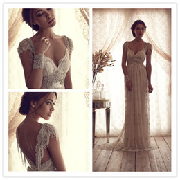 Wholesale 2015 Sexy Backless Wedding Gowns Beads Capped Sleeves Empire Sheath Cloumn Lace Bow Sweep Floor Length Inspired By Anna Campbell