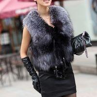 Wholesale 2016 Winter Faux Fur Vest Women Plus Size Coat Fashion Short Vest Trench Coat Runway sleeveless Jackets Ladies Girls waistcoat Outerwear W47