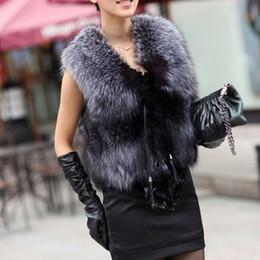 Desconto women s faux fur vest 2016 Inverno Faux Fur Vest Mulheres Plus Size Fashion Coat Curto Vest Trench Coat Runway casacos sem manga Ladies colete Meninas Casacos W47