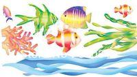 Cheap Free Shipping PVC wall stickers discount grass carp bathroom waterproof stickers - waist line decoration