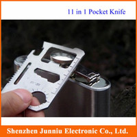 Wholesale Stainless Steel Multi Tool Card in Pocket Camping Fishing Knife Ruler with Black Leather Case