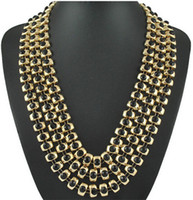 Wholesale New Arrival Statement Layered Necklace Jewelry For Women Gold Plated In Link Chain Resin Gemstone Inlaid Collar Choker Necklaces N0111