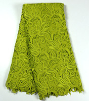 Wholesale by DHL Lemon green color water soluble lace fabric African cord lace for wedding dress many colors in stock