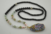 Pendant Necklaces chinese jade jewelry - Wire Wrapped Stone Pendant Necklace Black Onyx AND Chinese Jade Round Beads Jewelry