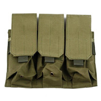 ar magazine pouch - Molle Tactical Triple M4 mm Mag Magazine Pouch Bag For Pistol Handgun AR Army Green OT0002