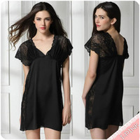 Wholesale New Luxury Women Summer sheer lace V neck Sleepwear Robes Soft lace nightwear Pajamas