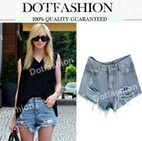 Cheap 2014 New Fashion Summer Women's Clothing Brand Casual Sport Sexy Vintage Blue Mid-Waist Ripped Denim Jeans Female Mini Short