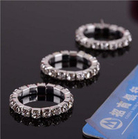 Wholesale New Rhinestone Colorful Fashion Finger Rings Silver Crystal Toe Ring Elastic Body Jewellery