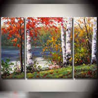 Cheap 100% Handmade Oil Painting On Canvas Art Cheap Wall Decoration Landscape Paintings 3 Panel Knife Pictures Modern For Dining Room